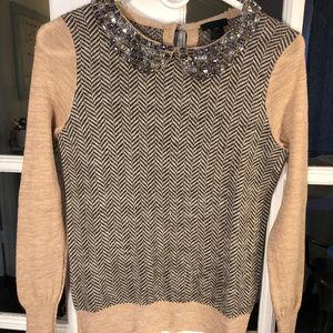 J. Crew Collection Jeweled Collar Sweater